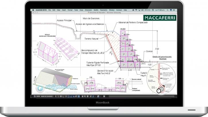 planos con detalles de muros de gaviones para rellenos controlados